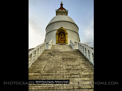 Steps leading to the World Peace Pagoda in Pokhara