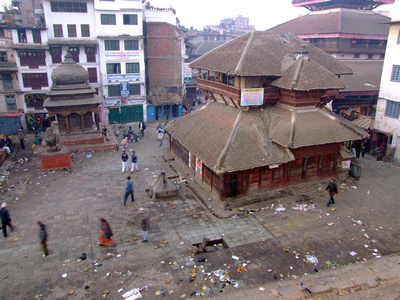 Kathmandu Durbar square from above - a little unsightly for 750 rupees?