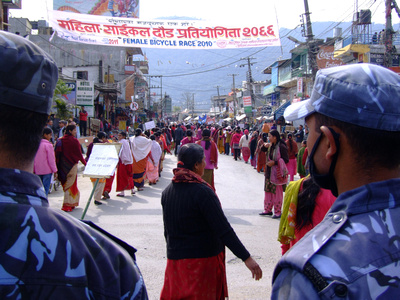 Women protesting in Nepal about the government protesting for strikes