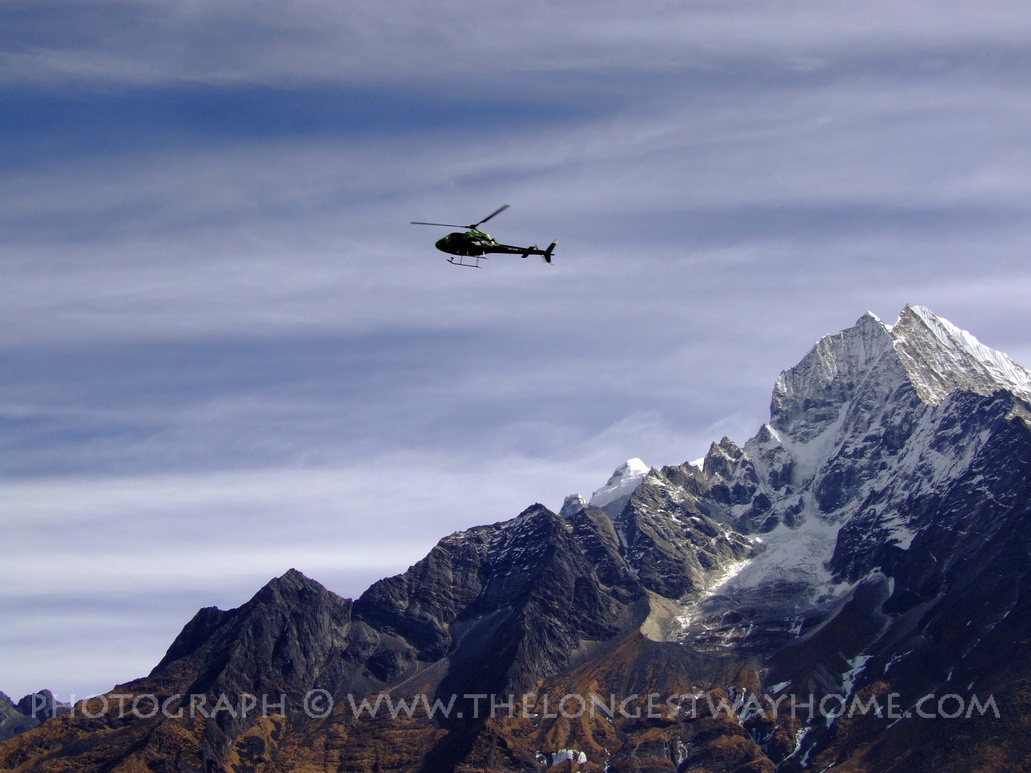 Helecopter over the everest region