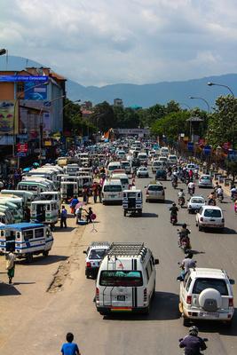 Busy street in Kathmandu Nepal
