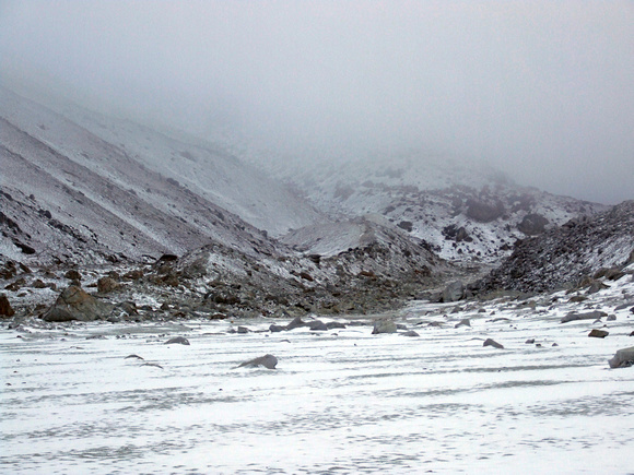 Snowing and low clouds around Everest Base Camp Nepal