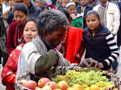 Street vendor in a crowd - Kathmandu Nepal