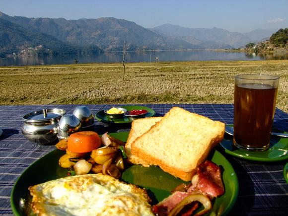 Bacon breakfast in Pokhara