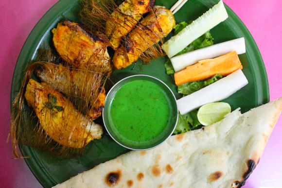 Full plate of Chicken Reshami kebab
