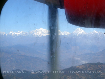 Everest mountain range from the plane window