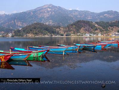 Rowing boats on lake Phewa Tal in Pokhara