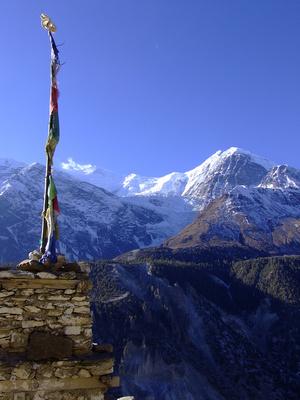 Stupa and Nepalese mountains