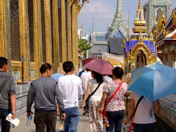 Tourists at the Grand Palace in Bangkok