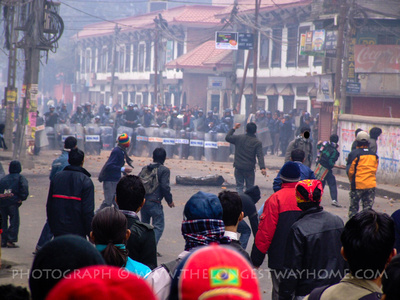 Students clash with riot police in Kathmandu Nepal