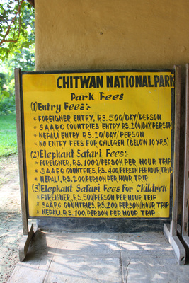 Chitwan National Park Price sign