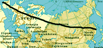 Overland route map