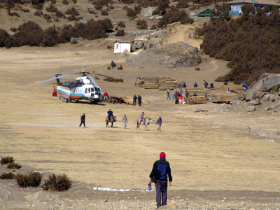 Helicopters near Everest