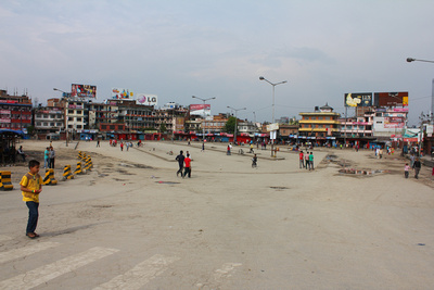 Ratna bus park in Kathmandu during a strike