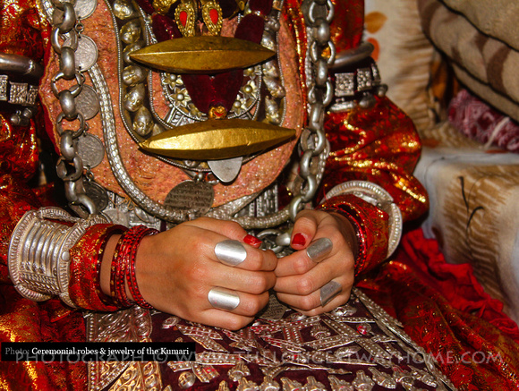 Jewelry and dress worn by the Patan Kumari in Nepal