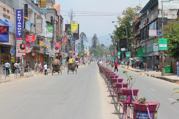 Empty road in Kathmandu during a strike