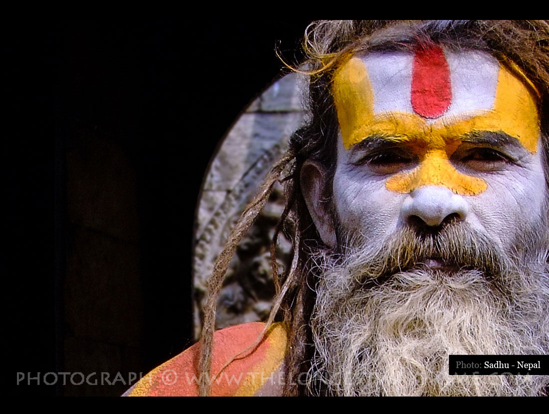 Colorful photograph of a Sadhu from Nepal