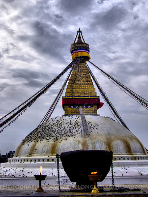 Boudhanath Stupa in the clouds