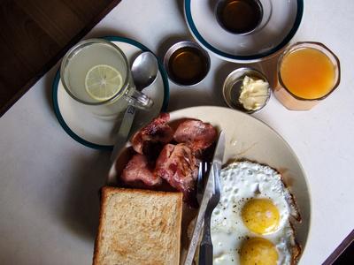 Bacon breakfast in Kathmandu