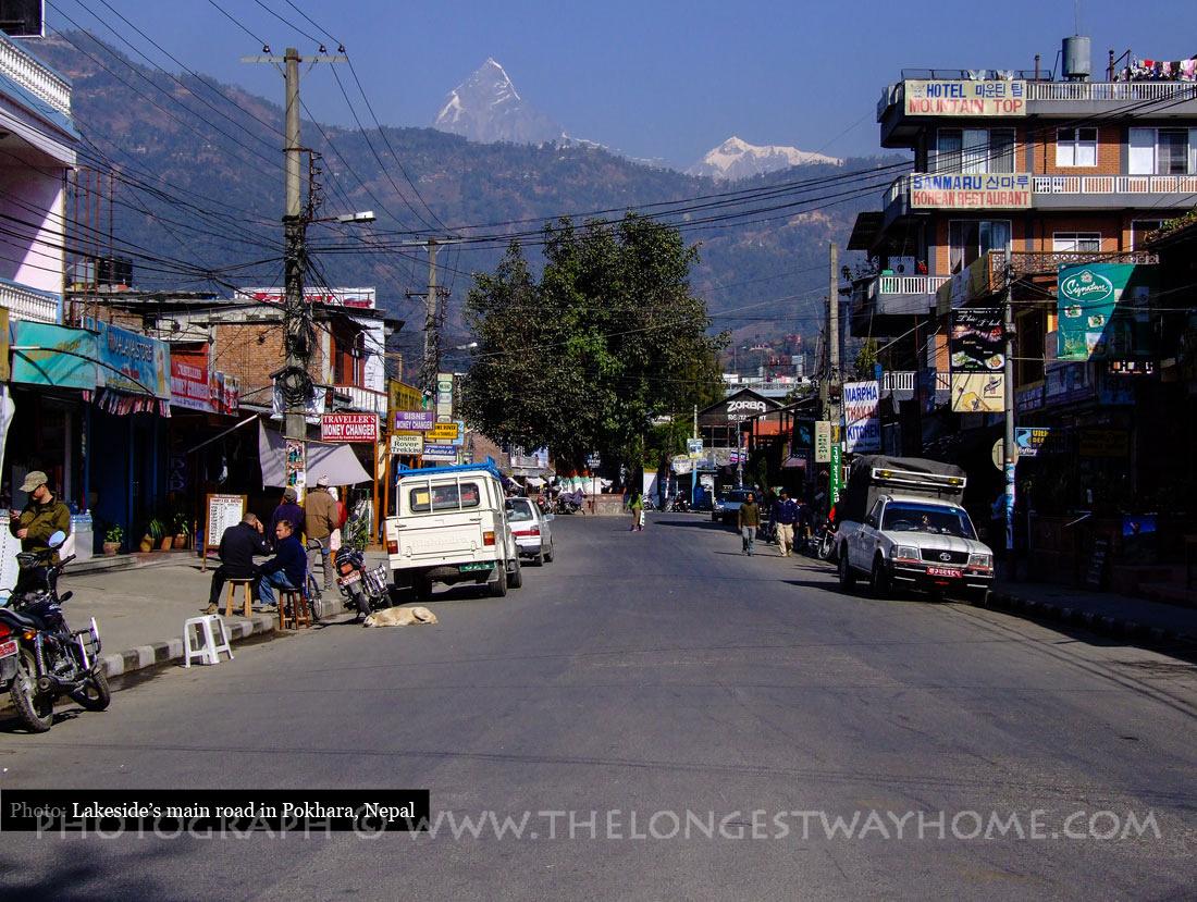 Main road in Lakeside Pokhara, Nepal