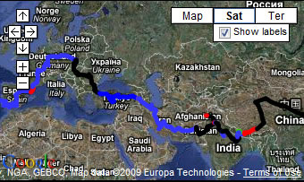Live long-term overland travel map