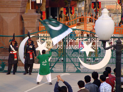 The Wagah Border Ceremony from the Pakistani side (click to enlarge)