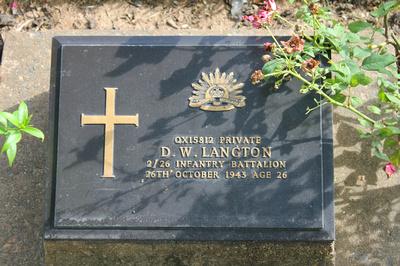 Tombstone of D.W. Langton Kanchanaburi, Thailand