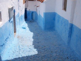 High blue street in Chefchaoen Morocco