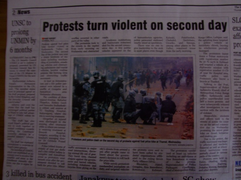 Newspapers in Kathmandu told a different story the next day (click to enlarge)