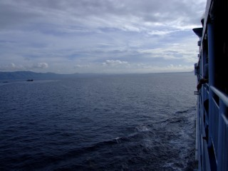 Looking out at the sea from the a Filipino ferry