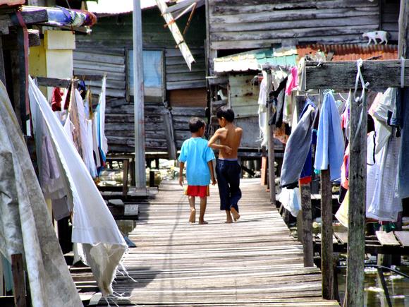 Two boys in the slums in Kota Kinabalu, Sabah