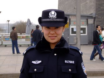 Chinese police woman in Bejing