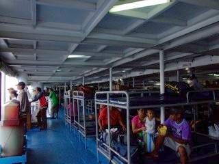 Economy class ferry room on the way to Bohol, Philippines
